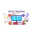 a b split test cartoon banner website comparison vector image vector image