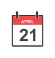 april 21 calendar icon in flat style vector image vector image