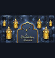 arabic card for ramadan kareem golden lanterns vector image vector image