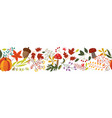 autumn horizontal banner with fall colorful plants vector image vector image
