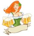 Beautiful Irish girl with beer vector image vector image