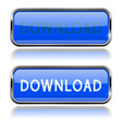 blue download buttons rectangle icons with metal vector image