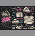 cake menu hand drawn bakery product sweet food vector image