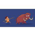 Cartoon Caveman with Spear hunting Mammoth vector image vector image
