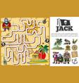 cartoon pirate treasure hunt maze concept vector image vector image