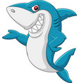 cartoon shark waving vector image vector image
