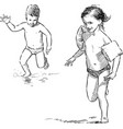 children running along seashore vector image vector image