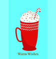 christmas greeting card template design with a cup vector image