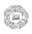 christmas sale wreath sketch composition poster vector image