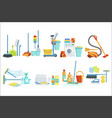 cleaning household equipment sets clean up vector image vector image