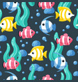 colorful fish seamless pattern underwater life vector image vector image