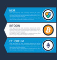colorful nem orange bitcoin and white ethereum vector image vector image