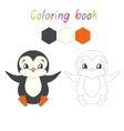 Coloring book penguin kids layout for game vector image vector image