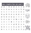 computer security editable line icons 100 vector image vector image