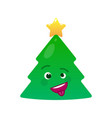 crazy christmas tree isolated emoticon vector image