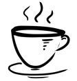 Cup with steam stylized vector image vector image