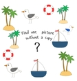 Educational game find picture without copy vector image