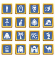 egypt travel icons set blue square vector image vector image