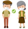 elderly people wearing mask vector image vector image