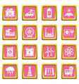 energy sources icons set pink square vector image vector image