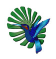 flying hummingbird colibri and monstera vector image vector image