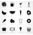food icons set black on white background vector image