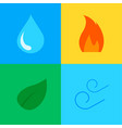 four elements - icons set - fire water vector image
