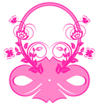 frame with pink ribbons and ornament vector image