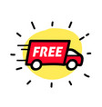 free shipping truck hand drawn outline doodle icon vector image