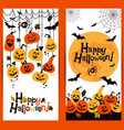 Halloween background banners of cheerful pumpkins vector image vector image
