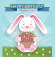 happy birthday background with cute white bunny vector image vector image