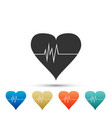 heart rate icon heart pulse icon cardiogram icon vector image vector image