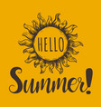 hello summer hand lettering vector image vector image