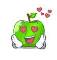 in love perfect fresh green apple on cartoon vector image vector image