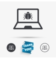 Laptop virus sign icon Notebook software bug vector image vector image