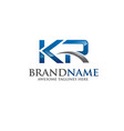 letter kr logo vector image vector image