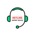 linear style abstract hotline logo isolated on vector image