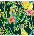 Macaw seamless pattern Topical flower and leaves vector image vector image