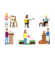 men and women do their favorite things vector image vector image