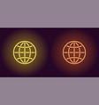 neon icon of yellow and orange globe vector image