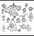 new year christmas trees christmas cheerful vector image vector image