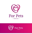 pink ribbon sign Cat head with heart vector image vector image