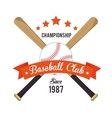 poster baseball crossed bats and ball stars vector image vector image