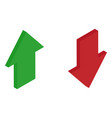 red and green isometric arrows growth and decay vector image vector image