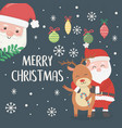 santa and reindeer hugging balls candy cane vector image vector image