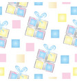 seamless pattern with gift boxes in pastel colors vector image