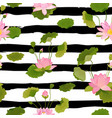 seamless pattern with lotus flowers and leaves vector image