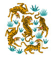 set tigers and tropical leaves trendy vector image vector image