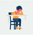 small kid studying behind desk vector image