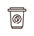takeaway disposable coffee line design vector image vector image